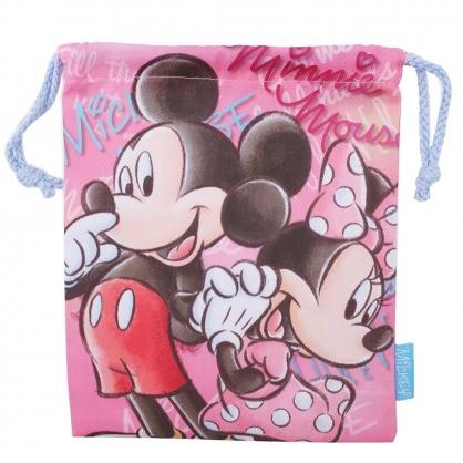 〔小禮堂〕迪士尼 米奇米妮 棉質束口袋《粉.側臉》18x21cm.縮口袋.收納袋