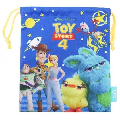 〔小禮堂〕迪士尼 玩具總動員4 棉質束口袋《藍綠.角色》18x21cm.縮口袋.收納袋