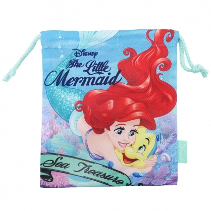 〔小禮堂〕迪士尼 小美人魚 棉質束口袋《綠藍.抱抱》18x21cm.縮口袋.收納袋