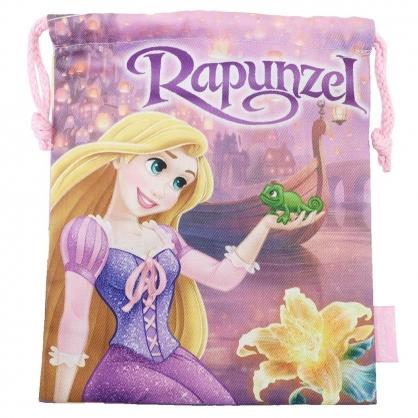 〔小禮堂〕迪士尼 長髮公主 棉質束口袋《紫.對看》18x21cm.縮口袋.收納袋