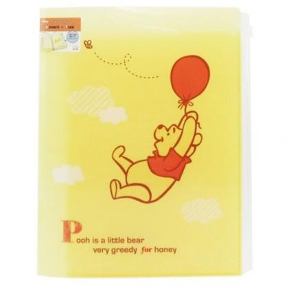 〔小禮堂〕迪士尼 小熊維尼 雙開式文件夾《A4.黃.拉汽球》資料夾.L夾.檔案夾