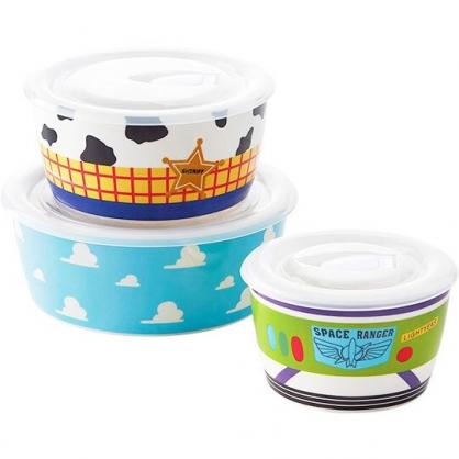 〔小禮堂〕迪士尼 玩具總動員 日製塑膠蓋陶瓷保鮮碗組《3入.藍黃綠.雲朵》湯碗.保鮮盒.便當盒
