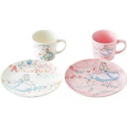 〔小禮堂〕迪士尼 愛麗絲 陶瓷咖啡杯盤組《4入.粉白.拉裙》茶杯.點心盤