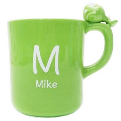 〔小禮堂〕迪士尼 怪獸大學 大眼怪 造型陶瓷馬克杯《綠.杯邊玩偶》260ml.茶杯.咖啡杯