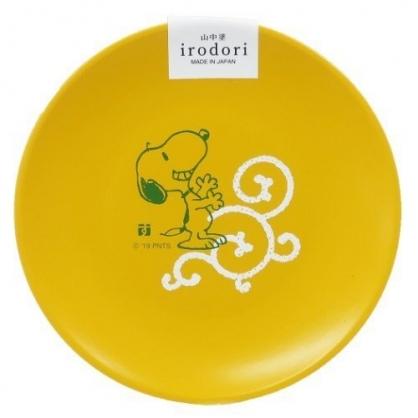 〔小禮堂〕史努比 日製迷你美耐皿圓盤《黃.舉手》醬料碟.塑膠盤.金正陶器