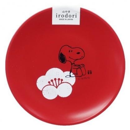 〔小禮堂〕史努比 日製迷你美耐皿圓盤《紅.摸腳》醬料碟.塑膠盤.金正陶器