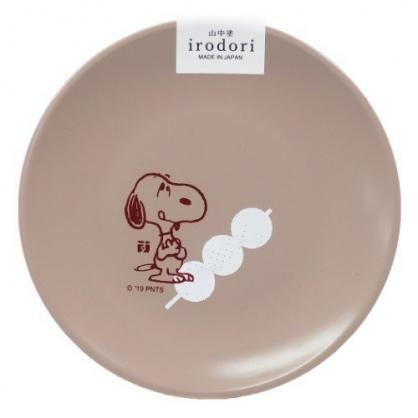 〔小禮堂〕史努比 日製迷你美耐皿圓盤《淡粉.吐舌》醬料碟.塑膠盤.金正陶器