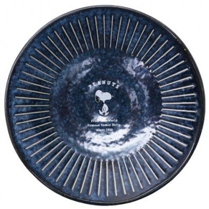 〔小禮堂〕史努比 日製迷你陶瓷圓盤《深藍.走路》醬料盤.小菜碟.金正陶器