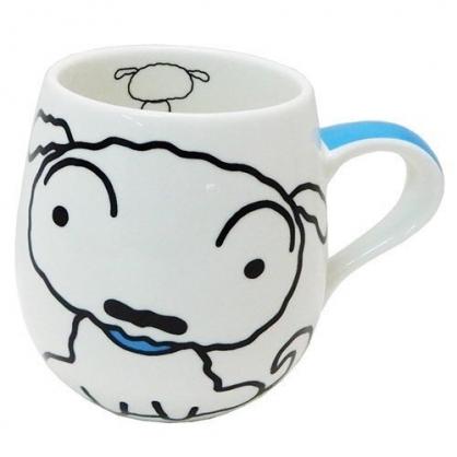 〔小禮堂〕蠟筆小新 小白 胖胖陶瓷馬克杯《白.坐姿》茶杯.咖啡杯.湯杯