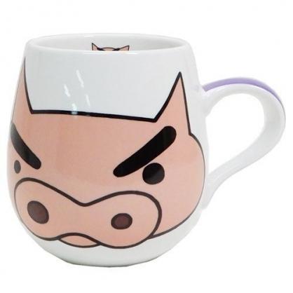 〔小禮堂〕蠟筆小新 肥嘟嘟左衛門 胖胖陶瓷馬克杯《白紫.大臉》茶杯.咖啡杯.湯杯