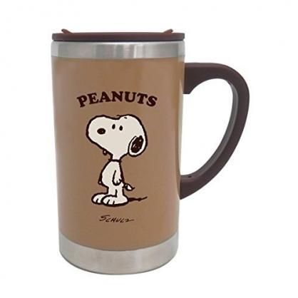 〔小禮堂〕史努比 單耳不鏽鋼杯附蓋《棕.站姿》300ml.保溫杯.茶杯.咖啡杯