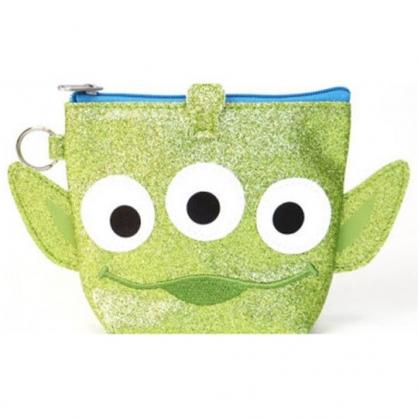 〔小禮堂〕迪士尼 玩具總動員 三眼怪 大臉造型亮粉皮革零錢包《綠》耳機包.收納包.掛飾