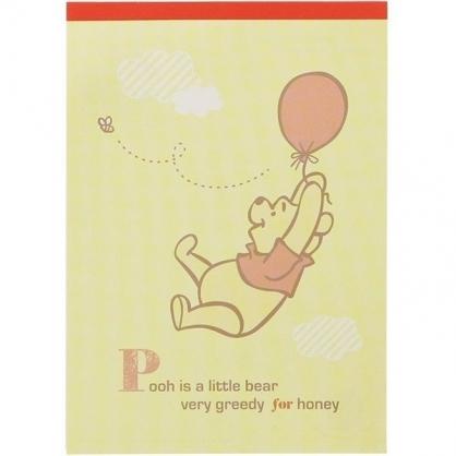 〔小禮堂〕迪士尼 小熊維尼 日製便條本《黃.拉汽球》便條紙.留言紙