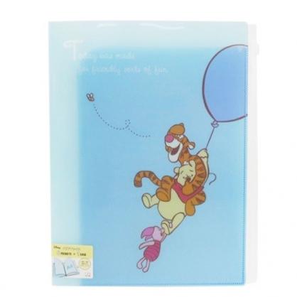 〔小禮堂〕迪士尼 小熊維尼 雙開式文件夾《A4.藍.拉汽球》資料夾.L夾.檔案夾