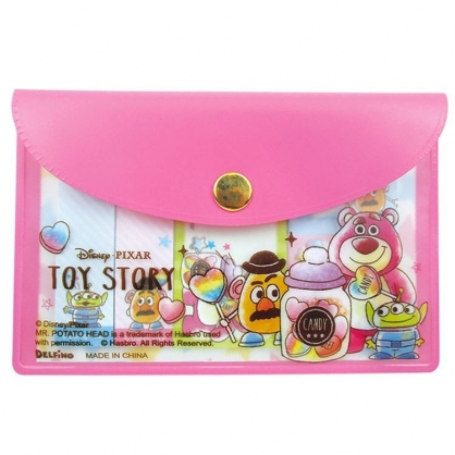 〔小禮堂〕迪士尼 玩具總動員 自黏便利貼附收納包《粉.糖果罐》N次貼.書籤貼.標籤貼