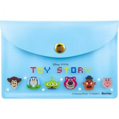 〔小禮堂〕迪士尼 玩具總動員 自黏便利貼附收納包《藍.大臉》N次貼.書籤貼.標籤貼