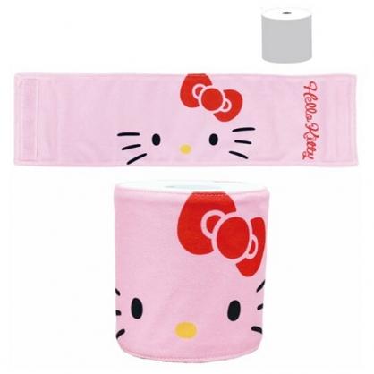〔小禮堂〕Hello Kitty 棉質魔鬼氈捲筒衛生紙套《粉》紙巾套