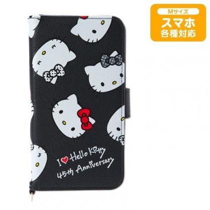 〔小禮堂〕Hello Kitty 皮質扣式掀蓋手機殼《黑白》多機種適用.裝飾殼.卡套.生日慶系列