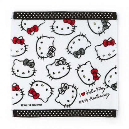 〔小禮堂〕Hello Kitty 純棉割絨小方巾《黑白》25x25cm.毛巾.手帕.生日慶系列