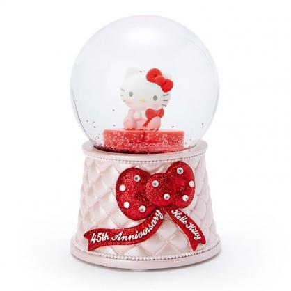 〔小禮堂〕Hello Kitty 造型玻璃雪球水晶球《紅粉》水晶擺飾.生日慶系列