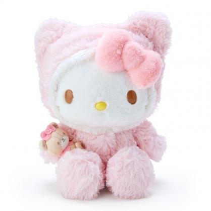 〔小禮堂〕Hello Kitty 套頭造型帽絨毛玩偶娃娃《M.粉白》擺飾.玩具