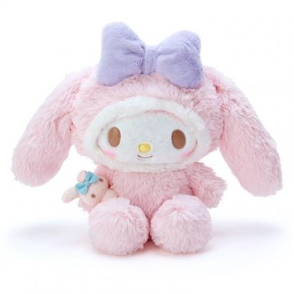 〔小禮堂〕美樂蒂 套頭造型帽絨毛玩偶娃娃《M.粉白》擺飾.玩具