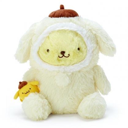 〔小禮堂〕布丁狗 套頭造型帽絨毛玩偶娃娃《M.黃棕》擺飾.玩具