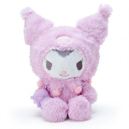 〔小禮堂〕酷洛米 套頭造型帽絨毛玩偶娃娃《M.紫灰》擺飾.玩具