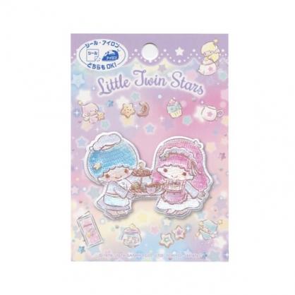 〔小禮堂〕雙子星 造型燙布貼《粉藍.下午茶》刺繡燙貼.布飾