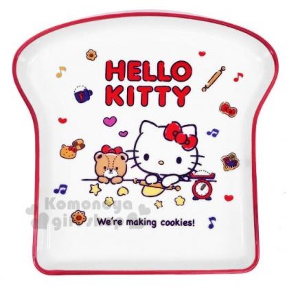 〔小禮堂〕Hello Kitty 吐司造型陶瓷盤《紅白》點心盤.沙拉盤