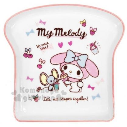 〔小禮堂〕美樂蒂 吐司造型陶瓷盤《粉白》點心盤.沙拉盤