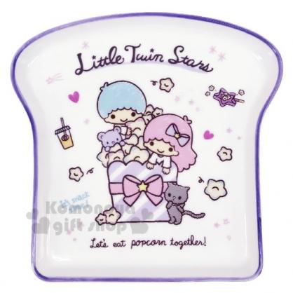 〔小禮堂〕雙子星 吐司造型陶瓷盤《紫白》點心盤.沙拉盤