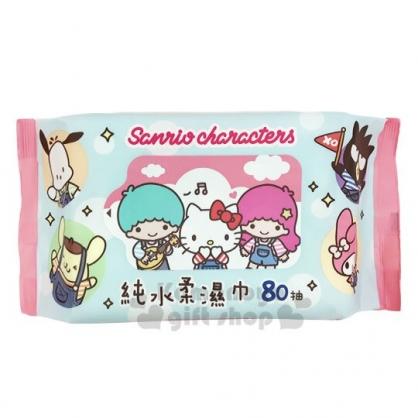 〔小禮堂〕Sanrio大集合 80抽純水濕紙巾包《粉藍.吊帶褲》柔濕巾.清潔用品