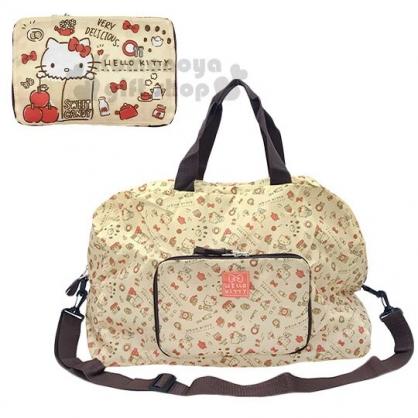 〔小禮堂〕Hello Kitty 折疊尼龍拉桿行李袋《淡棕.紙袋》旅行袋.肩背袋