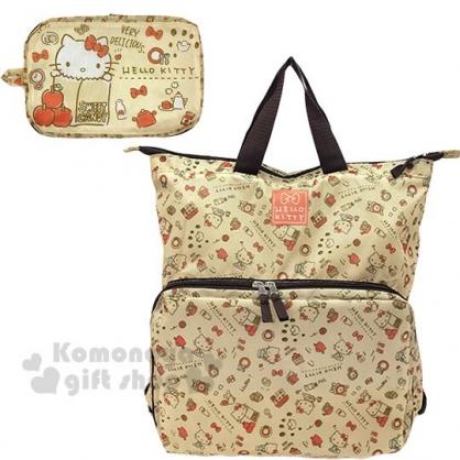 〔小禮堂〕Hello Kitty 可折疊尼龍後背包《淡棕.紙袋》環保袋.雙肩包.書包