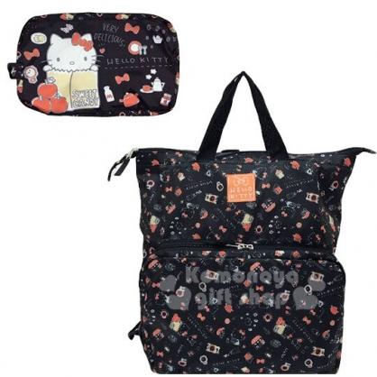 〔小禮堂〕Hello Kitty 可折疊尼龍後背包《黑橘.紙袋》環保袋.雙肩包.書包
