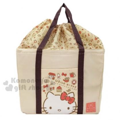 〔小禮堂〕Hello Kitty 方形尼龍束口保冷側背袋《淡棕.大臉》肩背袋.購物袋.野餐袋