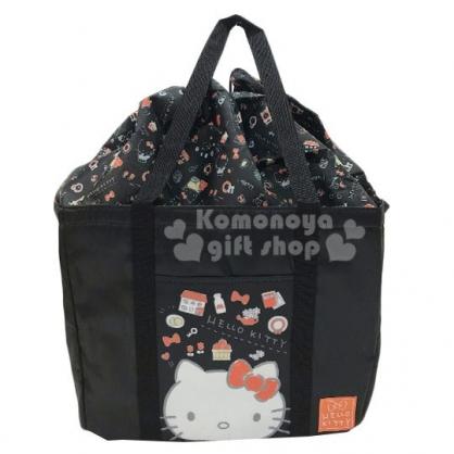 〔小禮堂〕Hello Kitty 方形尼龍束口保冷側背袋《黑.大臉》肩背袋.購物袋.野餐袋