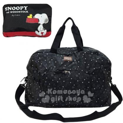 〔小禮堂〕史努比 折疊尼龍拉桿行李袋《黑紅.咬狗碗》旅行袋.肩背袋