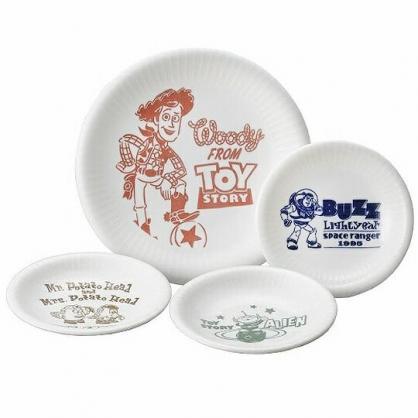 〔小禮堂〕迪士尼 玩具總動員 日製陶瓷圓盤組《4入.白.英文字》沙拉盤.菜盤.點心盤