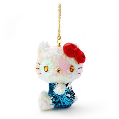 〔小禮堂〕Hello Kitty 亮片玩偶娃娃吊飾《藍白》掛飾.鑰匙圈.鎖圈