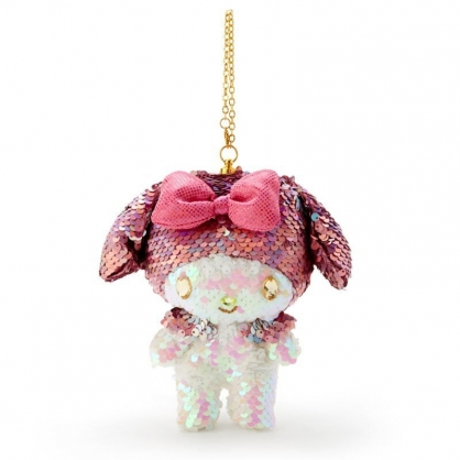 〔小禮堂〕美樂蒂 亮片玩偶娃娃吊飾《粉白》掛飾.鑰匙圈.鎖圈