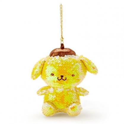 〔小禮堂〕布丁狗 亮片玩偶娃娃吊飾《黃棕》掛飾.鑰匙圈.鎖圈
