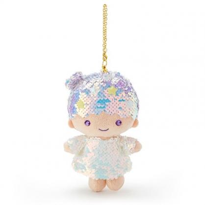 〔小禮堂〕雙子星KIKI 亮片玩偶娃娃吊飾《紫白》掛飾.鑰匙圈.鎖圈