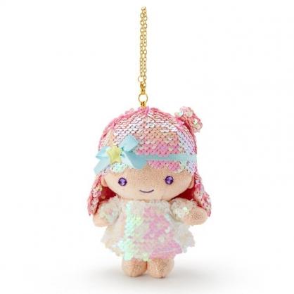 〔小禮堂〕雙子星LALA 亮片玩偶娃娃吊飾《粉白》掛飾.鑰匙圈.鎖圈