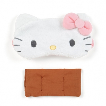 〔小禮堂〕Hello Kitty 立體耳朵造型絨毛熱敷眼罩《粉白》舒壓眼罩.加熱眼罩