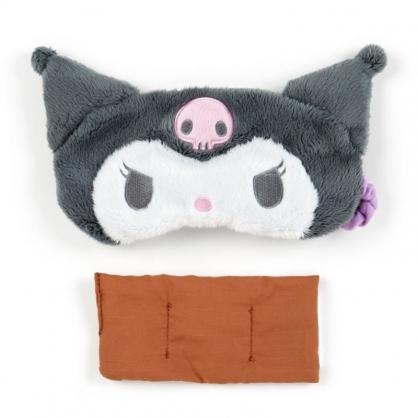 〔小禮堂〕酷洛米 立體耳朵造型絨毛熱敷眼罩《黑紫》舒壓眼罩.加熱眼罩