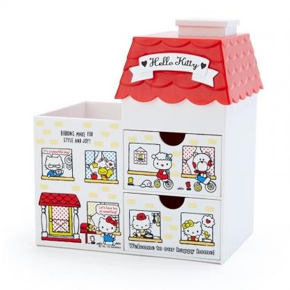 〔小禮堂〕Hello Kitty 房屋造型拿蓋雙抽筆筒收納盒《紅白》棉花盒.刷具筒