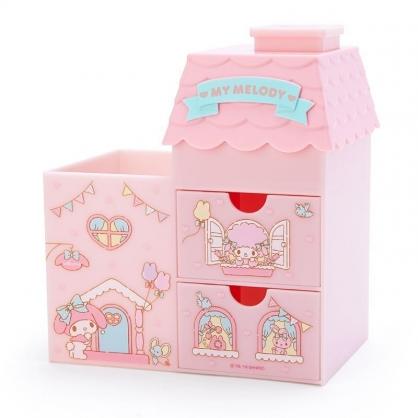 〔小禮堂〕美樂蒂 房屋造型拿蓋雙抽筆筒收納盒《粉綠》棉花盒.刷具筒