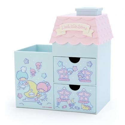 〔小禮堂〕雙子星 房屋造型拿蓋雙抽筆筒收納盒《綠粉》棉花盒.刷具筒